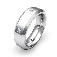 14k White Gold 0.25 Ct Princess Diamond Eternity Men's Wedding Band Beveled Edge