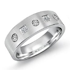 Matte Round & Princess Diamond Men's Half Wedding Band 14k White Gold 0.60 Ct