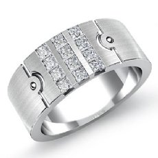 Matte 3 Row Channel Round Diamond Men's Half Wedding Band 14k White Gold 0.75 Ct
