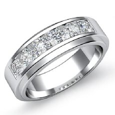 0.90 Ct Channel Set Round Diamond Men's Half Wedding Band in 14k White Gold