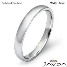 3mm Comfort Light Plain Ring 14k White Gold Men Dome Wedding Band 2.4g 4sz