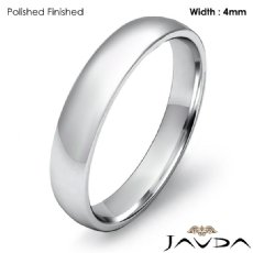 4mm Wedding Ring 14k White Gold Dome Shape Light Comfort Men Band 3.1g 4sz