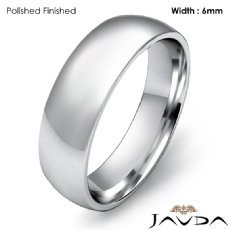 Platinum 950 6mm Light Weight Comfort Men Wedding Band Dome Ring 8.9g 4