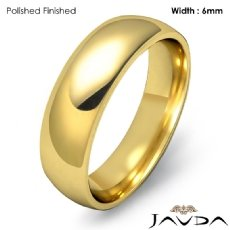 18k Gold Yellow 6mm Light Weight Comfort Men Wedding Band Dome Ring 6.6g 4