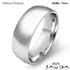Men Wedding Band Plain Dome Comfort Light Ring 7mm 14k White Gold 6.5g 4sz