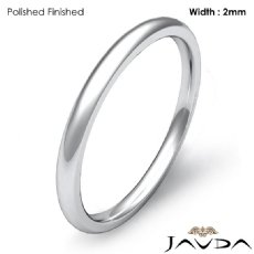 Dome Plain Ring 2mm Mens Comfort Fit Wedding Band 18k Gold White 2.2g 4