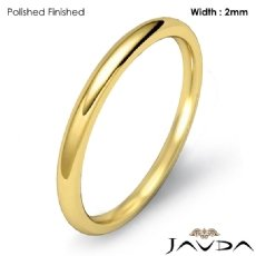 Dome Plain Ring 2mm Mens Comfort Fit Wedding Band 14k Gold Yellow 2.1g 4