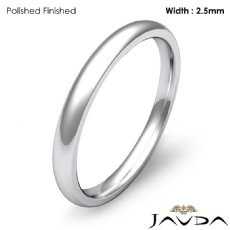 Plain Dome Comfort Ring 2.5mm Men Wedding Solid Band 14k White Gold 2.4g 4z