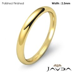Plain Dome Comfort Ring 2.5mm Men Wedding Solid Band 14k Gold Yellow 2.6g 4
