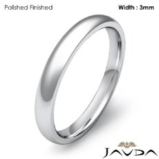 3mm Dome Comfort Plain Ring 18k Gold White Men Wedding Solid Band 3.3g 4