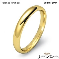 3mm Dome Comfort Plain Ring 14k Gold Yellow Men Wedding Solid Band 3.1g 4