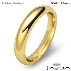 Wedding Band 14k Gold Yellow Mens Dome Comfort Fit Plain Ring 4mm 5.2g 4