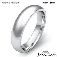 Men Wedding Band 18k Gold White Classic Dome Comfort Solid Ring 5mm 7g 4