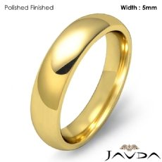 Men Wedding Band 14k Gold Yellow Classic Dome Comfort Solid Ring 5mm 6.2g 4