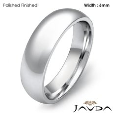 Solid 18k Gold White Plain Dome Wedding Band Men Comfort Ring 6mm 8.2g 4