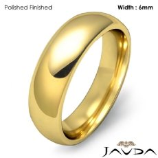 Solid 14k Gold Yellow Plain Dome Wedding Band Men Comfort Ring 6mm 7.3g 4