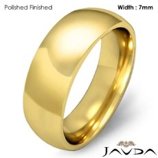 14k Gold Yellow 7mm Men Plain Comfort Dome Wedding Band Solid Ring 8.5g 4