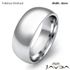 Comfort Men Wedding Band Solid Dome Plain Ring 8mm 18k Gold White 11g 4