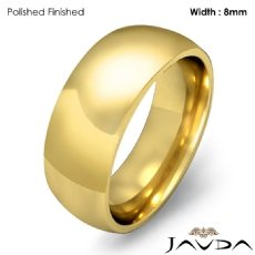 Comfort Men Wedding Band Solid Dome Plain Ring 8mm 14k Gold Yellow 9.7g 4
