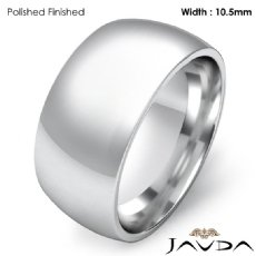 10.5mm Men Wedding Band Solid Dome Comfort Fit Ring Platinum 950 19.1g 4