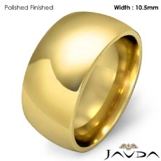 10.5mm Men Wedding Band Solid Dome Comfort Fit Ring 18k Gold Yellow 14g 4