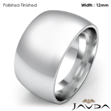 Huge Mens 12mm Solid Platinum 950 Plain Dome Wedding Band Ring 22.5g 4