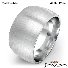 Huge Mens 12mm Solid 14k White Gold Plain Dome Wedding Band Ring 14g 4sz