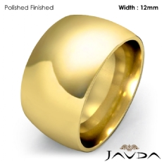 Huge Mens 12mm Solid 18k Gold Yellow Plain Dome Wedding Band Ring 16.4g 4