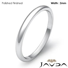 14k White Gold Mens Wedding Band Polish Plain Dome Solid Ring 2mm 1.7g 4sz