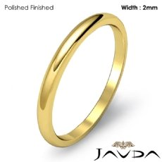 18k Gold Yellow Mens Wedding Band Polish Plain Dome Solid Ring 2mm 2.2g 4