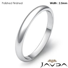 Polish Solid Ring 2.5mm Mens Wedding Dome Plain Band Platinum 950 3.3g 4