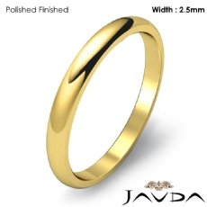 Polish Solid Ring 2.5mm Mens Wedding Dome Plain Band 18k Gold Yellow 2.6g 4