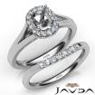 Cushion Diamond U Prong Engagement Semi Mount Ring Bridal Set 14k White Gold 0.43Ct - javda.com