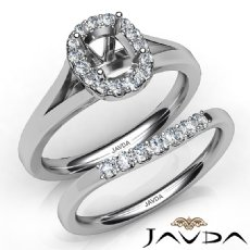 Cushion Diamond U Prong Engagement Semi Mount Ring Bridal Set 14K W Gold 0.43Ct