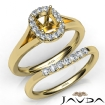 Cushion Diamond U Prong Engagement Semi Mount Ring Bridal Set 14k Yellow Gold 0.43Ct - javda.com