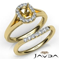Cushion Diamond U Prong Engagement Semi Mount Ring Bridal Set 14k Gold Yellow  (0.43Ct. tw.)