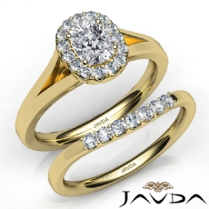 Cathedral Style Bridal Set Cushion diamond engagement Ring in 14k Gold Yellow