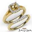 U Prong Diamond Engagement Cushion Semi Mount Ring Bridal Set 14k Yellow Gold 0.41Ct - javda.com