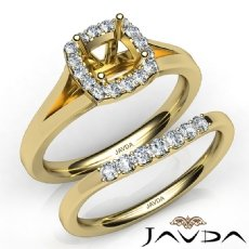 U Prong Diamond Engagement Cushion Semi Mount Ring Bridal Set 14k Gold Yellow  (0.41Ct. tw.)