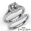 U Prong Diamond Engagement Cushion Semi Mount Ring Bridal Set 14k White Gold 0.41Ct - javda.com