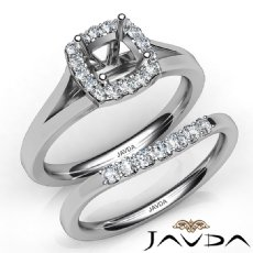 U Prong Diamond Engagement Cushion Semi Mount Ring Bridal Set 14K W Gold 0.41Ct