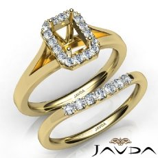 Emerald Diamond U Prong Engagement Semi Mount Ring Bridal Set 14k Gold Yellow  (0.45Ct. tw.)