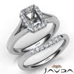 Emerald Diamond U Prong Engagement Semi Mount Ring Bridal Set 14k White Gold 0.45Ct - javda.com