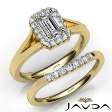 Classic Halo Bridal Set Pave Emerald diamond engagement Ring in 14k Gold Yellow