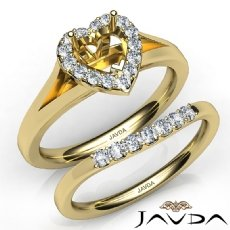 Heart Diamond U Prong Engagement Semi Mount Ring Bridal Set 14k Gold Yellow  (0.42Ct. tw.)