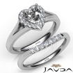 Heart Diamond U Prong Engagement Semi Mount Ring Bridal Set 14k White Gold 0.42Ct - javda.com