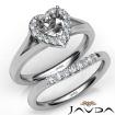 Heart Diamond U Prong Engagement Semi Mount Ring Bridal Set 14k White Gold 0.42Ct - javda.com