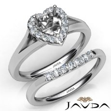 Heart Diamond U Prong Engagement Semi Mount Ring Bridal Set 14K W Gold 0.42Ct