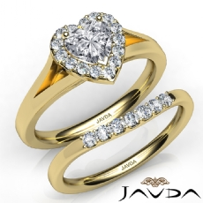 Pave Setting Halo Bridal Set Heart diamond engagement Ring in 14k Gold Yellow