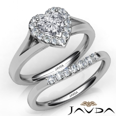 Pave Setting Halo Bridal Set Heart diamond engagement Ring in 14k Gold White